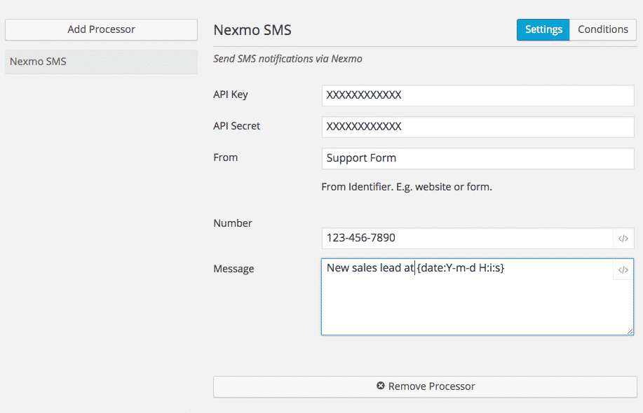Get SMS notifications of a new form submission.