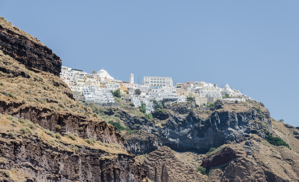 a nice picture of the view of the Caldera in Santorini